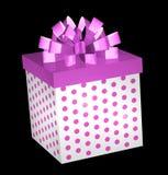 Heißes Rosa-Geschenk-Kasten mit Bogen Stockbilder