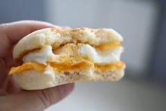 Heißes Sandwich des männlichen Handgriffs mit lizenzfreie stockfotografie
