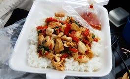 Heißes und würziges Basilikumhuhn mit Reis Lizenzfreies Stockfoto