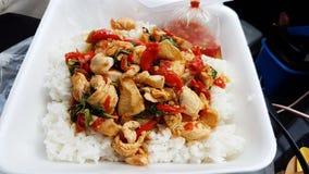 Heißes und würziges Basilikumhuhn mit Reis Lizenzfreie Stockfotos