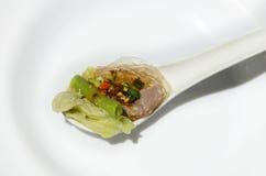 Heißes und würziges Schweinefleisch in Thailand (Jaew-Horn) stockfotos