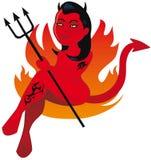 Heißes weibliches Teufelzeichen Lizenzfreie Stockbilder