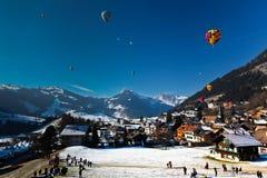 Heißluft-Ballon-Festival in der Schweiz Stockfotografie