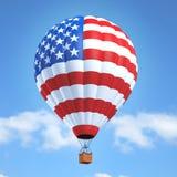 Heißluft-Ballon mit amerikanischer Flagge stockfoto