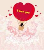 Heißluft-Ballon - Valentinsgrußkarte Stockfotos