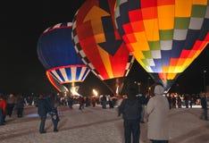 Heißluft-Ballone - Mond-Glühen Stockbild