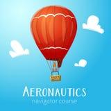 Heißluft-Ballonfliegen der Luftfahrt im blauen Himmel Stockfotografie