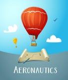 Heißluft-Ballonfliegen der Luftfahrt im blauen Himmel Lizenzfreies Stockbild