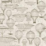 Heißluft der Weinlese steigt das Schwimmen in den Himmel im Ballon auf Modischer nahtloser Hintergrund, Tapete Monochrom in den S Lizenzfreie Stockfotos