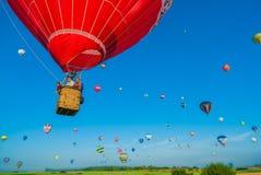 Heißluft Mondial Ballonwiedervereinigung in Lorraine France lizenzfreies stockfoto