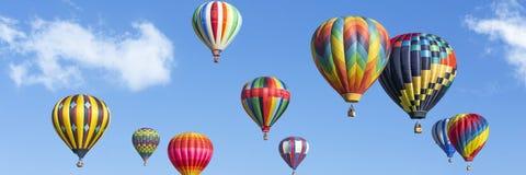 Heißluft steigt Panorama im Ballon auf Lizenzfreies Stockbild