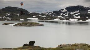 Heißluftballon über der berühmten Grafschafts-Straße 55 Norwegen Stockfotografie