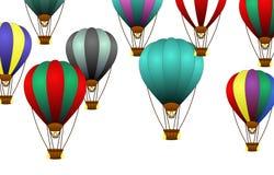 Heißluftballon auf weißem Hintergrund Stockfotos