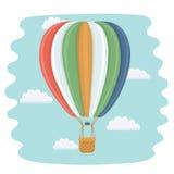Heißluftballon und -wolken Lizenzfreies Stockbild