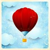 Heißluftballon, Weinlesekarte Lizenzfreie Stockfotos