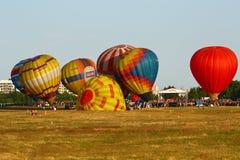 Heißluftballone am Feld Lizenzfreie Stockbilder