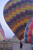 Heißluftballone, früh morgens Stockfotos