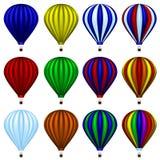 Heißluftballonsatz Stockbild