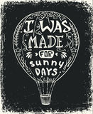Heißluftballonvektorillustration, Typografieplakat mit positivem Zitat beschriftend Lizenzfreie Stockbilder