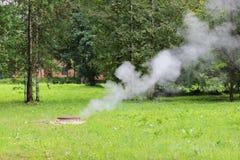 Heißwasser des Abbruchsrohres unter der Luke Dampf und grünes Gras Lizenzfreie Stockfotos