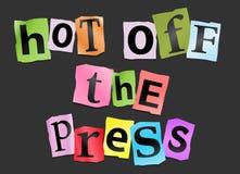Heiß weg von der Presse. Stockbild