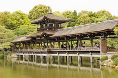 Heian津沽寺庙的禅宗庭院 库存照片