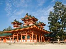 Heian Jingu shrine. Landscape view of orange coloured Heian Jingu shinto shrine in Kyoto, Japan. The Heian Jingu hosts the Jidai Matsuri, one of the three most royalty free stock photos
