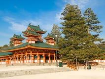 Heian Jingu shrine. Landscape view of orange colored Heian Jingu shinto shrine in Kyoto, Japan. Heian Jingu hosts the Jidai Matsuri, one of the three most royalty free stock photo