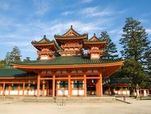 Heian Jingu shrine. Landscape view of orange coloured Heian Jingu shinto shrine in Kyoto, Japan. The Heian Jingu hosts the Jidai Matsuri, one of the three most royalty free stock photo