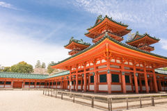 Heian Jingu Shrine. Under blue sky in Kyoto, Japan Royalty Free Stock Photos