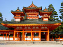Heian Shrine. A detail of traditional Japanese architecture from Heian Shrine one of the biggest temple in Kyoto Japan Stock Photos