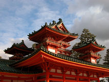 Heian Shrine. Roof detail in a cloudy day Stock Photos