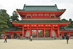 Heian Shrine's main gate in Kyoto, Japan. Stock Photos
