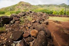 Heiau of Poliahu - Temple Dedicated to Ku. Swing bridge at the Menehune Ditch on Kauai Island, Hawaii Royalty Free Stock Image