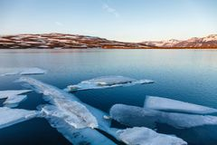 Heidarvatn lake near Fjardarheidi mountain pass Seydisfjordur Eastern Iceland Scandinavia stock image
