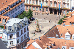 Heidelberg from above - University Square, Royalty Free Stock Image