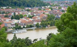 Heidelberg aerial. Aerial view of Heidelberg city with river Neckar in foreground, Baden-Wurttemberg, Germany Royalty Free Stock Image