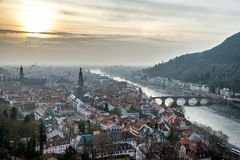 Heidelberg aerial view at sunset Royalty Free Stock Image