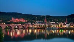 Heidelberg, Alemania, lapso de tiempo alrededor de la oscuridad almacen de metraje de vídeo