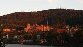 Heidelberg Altstadt. Heidelberger Schloss Untergang stock image