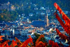 Heidelberg autumn city view with the castle royalty free stock image