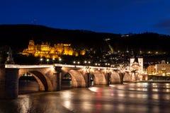 Heidelberg bij nacht Royalty-vrije Stock Afbeeldingen