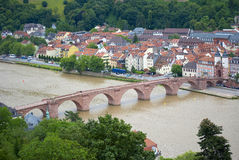 Heidelberg bridge. Aerial view of old bridge over river Neckar, Heidelberg, Baden-Wurttemberg, Germany Royalty Free Stock Photos