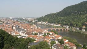 Heidelberg Castle. The famous landmark castle of Heidelberg, Germany, as seen from the eastern side. Slow pan along the extensive structure down to the stock video footage