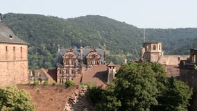 Heidelberg castle. The famous landmark castle of Heidelberg, Germany, as seen from the northern side. Slow panning shot stock footage