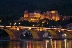 Heidelberg Castle, Germany, night lights. Stock Photos