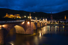 Heidelberg Castle, Germany, night lights. Stock Images