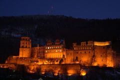 Heidelberg castle lit up during night Royalty Free Stock Images