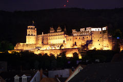 Heidelberg castle during night time view on hill Royalty Free Stock Photos