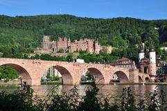 Heidelberg castle and old bridge Royalty Free Stock Photography